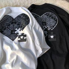 PUYE - Short-Sleeve Heart Print T-Shirt