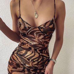 Laigh - Spaghetti Strap Leopard Print Mini Dress