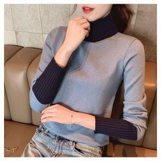 Carmenta - Long-Sleeve Turtle-Neck Paneled Knit Top