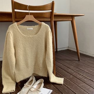 UPTOWNHOLIC - Square-Neck Puff-Sleeve Knit Top