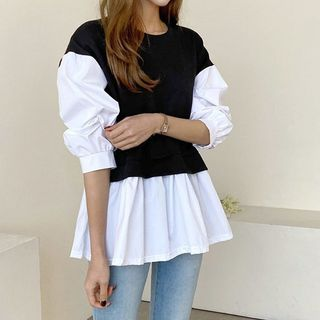 Seoul Fashion - Two-Tone Peplum Blouse