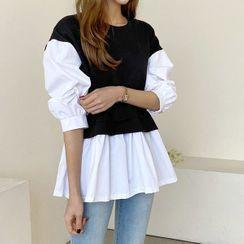Seoul Fashion(ソウルファッション) - Two-Tone Peplum Blouse