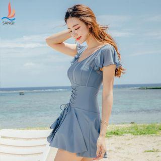 Salanghae - Flutter Sleeve Lace-Up Swimdress