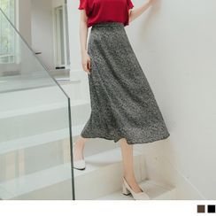 OrangeBear(オレンジベア) - Elastic-Waist Floral Chiffon Midi Skirt