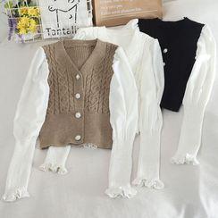 Pinatra - 泡泡袖拼接開衫