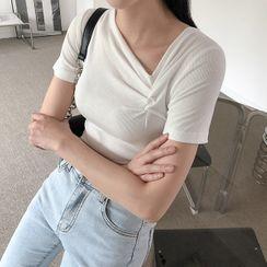 NAIN - Asymmetric-Neck Shirred Top