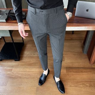 NYEON - Pinstriped Tapered Dress Pants
