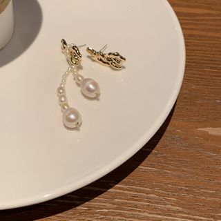 Calypso - Faux Pearl Alloy Asymmetrical Dangle Earring