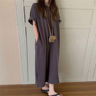monroll - Short-Sleeve Slit Midi Shift T-Shirt Dress