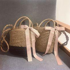 Elencee - Bow Woven Handbag with Shoulder Strap