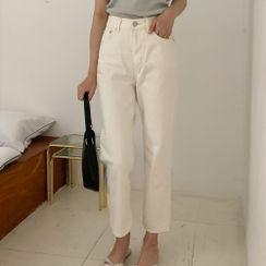 CHERRYKOKO - Straight-Cut Cotton Pants