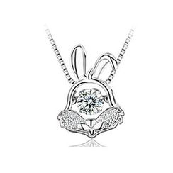 BELEC - 925 Sterling Silver Zodiac Rabbit Pendant with Necklace