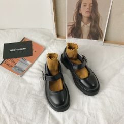 Queen Zoo - Plain Round-Toe Mary Jane Flats