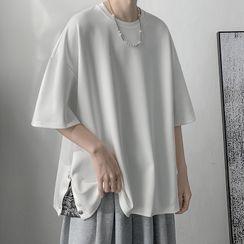 JUN.LEE - Plain Slit Short Sleeve T-Shirt