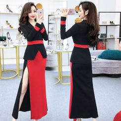 Tidel - Long-Sleeve Color Block Maxi Peplum Dress