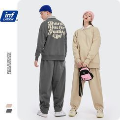 Newin - Unisex Lettering Loose-Fit Sweatshirt / Straight-Cut Sweatpants