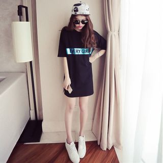Ping Pong - Elbow-Sleeve Letter Mini T-Shirt Dress