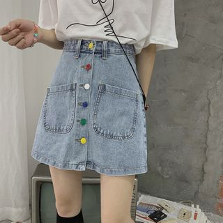 Guromo - A-Line Denim Mini Skirt with Multi-Colored Buttons