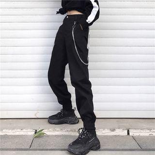 MELLO - Pantalon cargo taille haute à chevilles élastiques