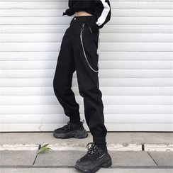MELLO - High-Waist Elastic Cuff Cargo Pants