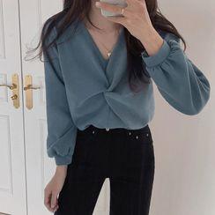 KiTi - V领扭结衬衫