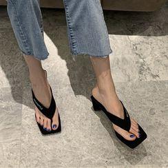 Anran - Square-Toe Chunky-Heel Flip-Flops