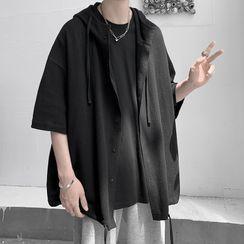 JUN.LEE - Drawstring Oversized Short-Sleeve Shirt