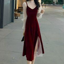 Glacia - Set: Long-Sleeve Glitter Mesh Top + Spaghetti Strap A-Line Midi Dress