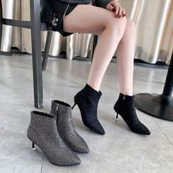 Moonwalk - Rhinestone High Heel Short Boots