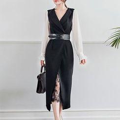 Shacos - Set: Long-Sleeve Lapel Midi Dress + Midi Lace Skirt + Belt