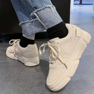 Yuche - 纯色厚底休閒鞋