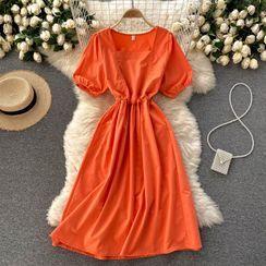 Lucuna - Square-Neck Plain Lace-Up Strap Puff-Sleeve Dress