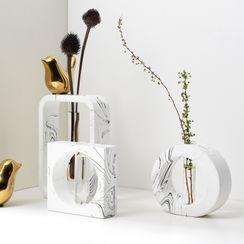 miss house - Geometric Cement & Glass Vase
