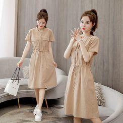 Ariadne - Short-Sleeve Chest Pocket A-Line Dress