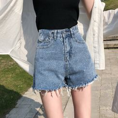 Muezz - Distressed Denim Shorts