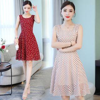 Sienne - Printed Sleeveless A-line Chiffon Dress