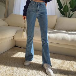 LIPHOP - Washed Boot-Cut Jeans