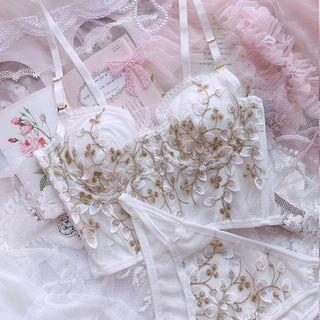 Prinsis - Set: Embroidered Bra Top + Panties