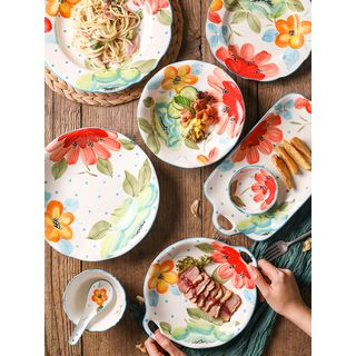Gukan - Floral Print Ceramic Plate / Bowl / Spoon