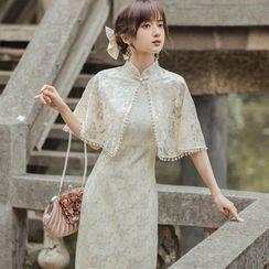Flonso - 套装: 无袖蕾丝塑身旗袍连衣中裙 + 斗篷