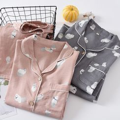 MelMount - Couple Matching Pajama Set: Cat Print Shirt + Lounge Pants