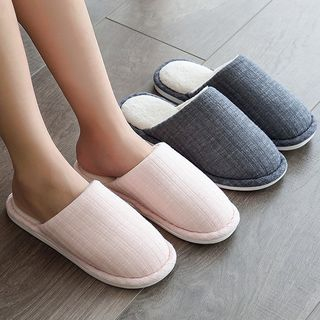 Aisifin - Couple Matching Round Toe Lined Slippers
