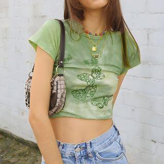 Sosana - Short-Sleeve Glitter Butterfly Tie-Dye Cropped T-Shirt