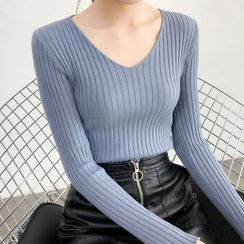 Asilah - Long-Sleeve V-Neck Plain Knit Top
