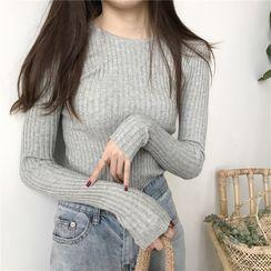 Adoree - 纯色长袖针织上衣
