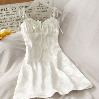 Lemongrass - Ruffle-Trim Spaghetti Strap Mini Dress