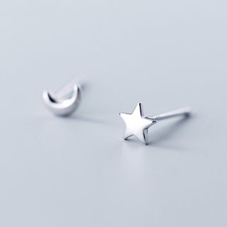 A'ROCH - Non-Matching 925 Sterling Silver Moon & Star Earrings
