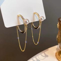True Glam - 水钻链条带圈环耳环