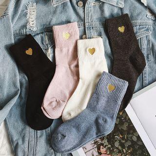 Jansi - Set of 3: Heart-Embroidered  Socks