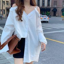 Ashlee - Long-Sleeve Cold Shoulder Shirt